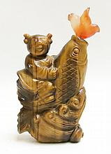 CHINESE CARVED TIGER'S EYE SNUFF BOTTLE, depicting