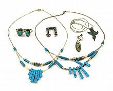 SEVEN PIECES OF SILVER JEWELRY WITH TURQUOISE incl