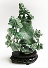 CHINESE CARVED JADE URN on hardwood plinth. The  l