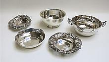 FIVE STERLING SILVER BOWLS: 1 English .958 sterlin