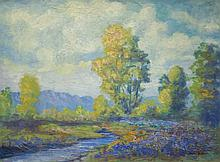 OSCAR HUKARI OIL ON CANVAS BOARD (Oregon, 1878-1962) Impressionist Oregon landscape.  Image measures 18