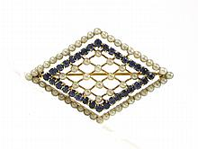 SAPPHIRE, SEED PEARL AND YELLOW GOLD PIN.  The 14k yellow gold pin set with 60 white seed pearls and 32 round-cut sapphires together weighing approximately 0.32 cttw.  The pin measures 1 x 1-1/2 inches.
