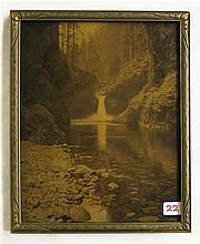 OROTONE PHOTOGRAPH, Punchbowl Falls, Oregon, early 20th century.  Image measures 10
