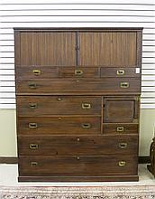 THREE STACK TANSU CHEST, Japanese, early 20th century.  Dimensions:  67.5