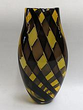 ISOLA STUDIO ART GLASS VASE BY SCOTT BENEFIELD of compressed baluster form with brown and golden ribbons, height 13 inches, circa 1990.