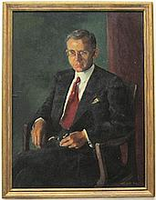 CHARLOTTE L. BLASS OIL ON BOARD (American, 1908-1980) Portrait of John Winter, a man in a business suite holding a pipe.  Image measures 43