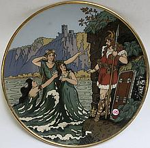 METTLACH ETCHED POTTERY PLAQUE #3164 Maiden Coming Out of Water, Heading Toward Knight, incised Mettlach mark underfoot, dates 1885-1930, stamped Rotterdadammerung. Diameter 17.5 inches.
