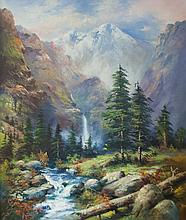 OLIVE RHODES OIL ON CANVAS (American, 20th century) Alpine landscape with river in the foreground.  Image measures 26