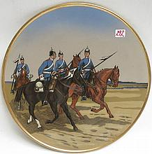 METTLACH ETCHED POTTERY PLAQUE, #2079, Four Dragoners Horseback, signed Stocke.  Mettlach trademark underfoot, 1885-1930.  Diameter 15 inches.