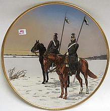 METTLACH ETCHED POTTERY PLAQUE, #2078, Two Ulanens on Horseback on Snow Covered Field, signed Stocke.  Mettlach trademark underfoot, 1885-1930.  Diameter 15 inches.