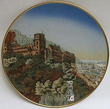 METTLACH ETCHED POTTERY PLAQUE #2362 Heidelburg Castle, incised Mettlach logo verso, 1885-1930.  Diameter 17.5 inches.