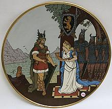 METTLACH ETCHED POTTERY PLAQUE #3163, Lohengrin Walking up to Marden, incised Mettlach mark underfoot, 1885-1930.  Diameter 17.5 inches.