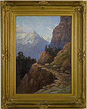 JULIAN E. ITTER (CANADA/WASHINGTON STATE), Lake Chelan region mountain landscape, original oil on canvas, 36 x 26 inches, artist signed lower right, antique frame. Note: This very painting is pictured with the artist in The Spokesman-Review