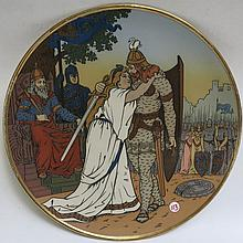 METTLACH ETCHED POTTERY PLAQUE #3165 Knight and  Maiden Embracing, King in Chair, incised Mettlach mark underfoot, dates 1885-1930, stamped Lohengrin's Ankunft.  Diameter 17.5 inches.