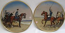 TWO METTLACH ETCHED POTTERY PLAQUES, the first #2080 Four Kurassiers on Horseback and the second #2081 Four Husarens on Horseback.  Plaques with incised Mettlach trademark underfoot.  Each signed Stocke.  Dates 1885-1930.  Diameters 15 inches.