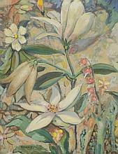 CHARLES EDWARD HEANEY OIL ON CANVAS LAID ON BOARD (Oregon, 1897-1981) Flowers.  Image measures 16.5