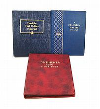 U.S. FRANKLIN SILVER HALF DOLLAR COLLECTION, 106 coins in three albums. Album #1: an incomplete album of 24 coins, 1948-1963; album #2: a complete album of 35 coins, 1948 to 1963-D; album #3: an album of 46 coins, 1949-S to 1963-D, not all mint dates
