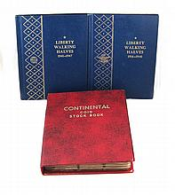 U.S. WALKING LIBERTY SILVER HALF DOLLAR COLLECTION, 172 coins in 3 albums. Album #1: 42 coins (1916-P, 1921-P & 1921-D missing), 1916-D to 1940-S; album #2: a complete album of 20 coins, 1941-P to 1947-D; album #3: 110 coins, incomplete date range