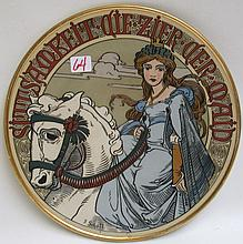 METTLACH ETCHED POTTERY PLAQUE, #2485, Maiden on White Horse, inscribed