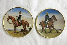 TWO METTLACH ETCHED POTTERY PLAQUES, the first #2142 Bismarck on Horseback, the second #2143 Von Moltke on Horseback.  Each with incised Mettlach trademark underfoot, 1885-1930.  Each signed Stocke.  Diameters 15 inches.