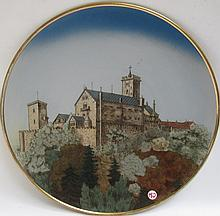 METTLACH ETCHED POTTERY PLAQUE #2361A Wartburg Castle, incised Mettlach logo verso, 1885-1930.  Diameter 17.5 inches.