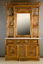 VICTORIAN EASTLAKE MARBLE-TOP WALNUT SIDEBOARD, American, 19th century, in two sections: top etagere section with two pairs of open shelves separated by a rectangular mirror under pierced cornice; marble-top buffet base section three aligned drawers