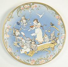 METTLACH ETCHED POTTERY PLAQUE #2148, Snow White and Seven Dwarfs, incised Mettlach logo verso, 1885-1930.  Signed Schlitt.  Diameter 16 inches.