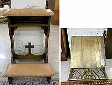 TWO ANTIQUE CHURCH ACCESSORIES:  oak prie-dieu and an adjustable incline brass bible stand.