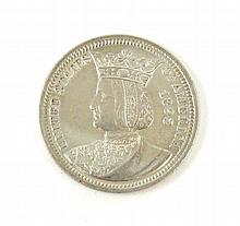 1893 COMMEMORATIVE SILVER ISABELLA QUARTER, World's Columbia Exposition, obverse profile bust of Queen Isabella I of Spain, reverse of kneeling female with distaff and spindle emblematic of women's industry, 24,214 pieces minted, 6.25 grams, 24.3 mm