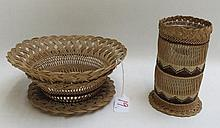 HUPA (NORTHWEST CALIFORNIA) NATIVE AMERICAN WOVEN VASE AND BASKET. The footed basket vase, made from hazel sticks, bear grass, maidenhair fern, and woodwardia fern dyed with alder bark and willow roots, having glass liner, 6.5