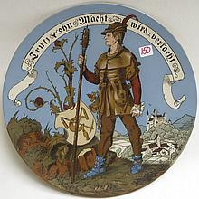 METTLACH ETCHED POTTERY PLAQUE, #1385, Knight Carrying Weapon, initialed WS (Schultz).  Mettlach trademark underfoot, 1885-1930.  Diameter 14.25 inches.