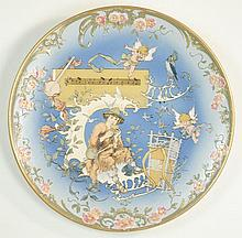 METTLACH ETCHED POTTERY PLAQUE #2149, Papageno Playing Flute, signed Schlitt, incised Mettlach  logo verso, 1885-1930.  Signed Schlitt.  Diameter 16 inches.
