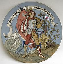METTLACH ETCHED POTTERY PLAQUE, #1384, Knight Carrying Flag, initialed WS (Schultz).  Mettlach  trademark underfoot, 1885-1930.  Diameter 14.25 inches.