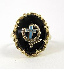 BLACK ONYX AND TEN KARAT GOLD CATHOLIC RING. The Young Ladies Institute ring set with an oval black onyx tablet centering a yellow gold and light blue enamel cross with the letters