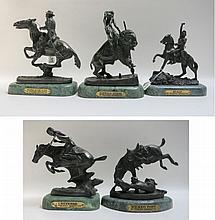 FIVE REMINGTON INSPIRED CAST BRONZE SCULPTURES including titles such as