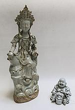 TWO CHINESE GLAZED PORCELAIN FIGURES:  3.25