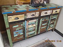 PAINT DECORATED RECLAIMED MAHOGANY SIDEBOARD, Caribbean Islands, 20th century, the front featuring four aligned drawers over four louvered cabinet doors 35.5
