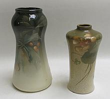 TWO ROSEVILLE ROZANE ROYAL ART POTTERY VASES, each hand decorated and artist signed with Rozane Ware Royal raised mark underfoot.  Heights 6.5 and 8 inches.
