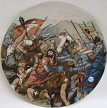 METTLACH ETCHED POTTERY PLAQUE #1769, Battle Scene with Arnold Von Winkelried, signed Schultz, incised Mettlach mark underfoot, dates 1885-1930.  Diameter 15 inches.