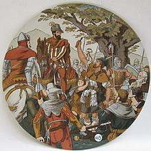 METTLACH ETCHED POTTERY PLAQUE #1770, William Tell After Shooting Apple, signed Schultz, incised Mettlach mark underfoot, dates 1885-1930.  Diameter 15 inches..