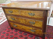 LATE VICTORIAN MAHOGANY AND BURL WALNUT CHEST OF DRAWER, English, c. 1900. featuring three large  burl-faced drawers with brass handles.  Dimensions:  29.25