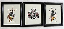 THREE PIECES: Two oils on board depicting tribal dancers, signed