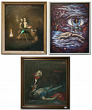 THREE RUSSIAN OILS ON CANVAS, 20th century. A man with violin kneeling beside a fallen matador, a man with his mermaid wife and children and a surreal landscape with cathedral and eye. Images measure 21