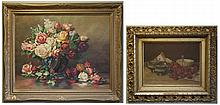 TWO STILL-LIFE OILS ON CANVAS: Floral still-life with roses and raspberries, image measures 24
