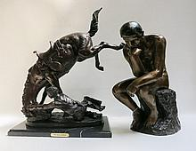 TWO CAST BRONZE SCULPTURES, the first of The Thinker, height 19 inches, the second after Remington titled