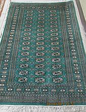 HAND KNOTTED ORIENTAL AREA RUG, green field Bokhara, 4'2