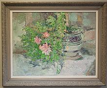 FLORAL STILL-LIFE OIL ON CANVAS, flowers growing out of a planter.  Image measures 22