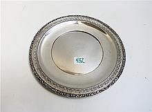 WATSON STERLING SILVER ROUND TRAY, #L80, with pierced band and relief floral rim.  Diameter 9 inches.  Weight 5.9 troy oz.