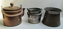 THREE COPPER VESSELS consisting of a hot water kettle, a bucket with bale handle and a kindling bucket, heights from 10 to 15 inches.
