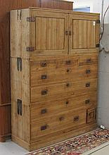 THREE STACK TANSU CHEST, Japanese, early 20th century.  Dimensions:  63.5